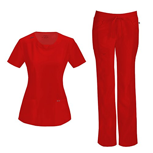 Cherokee Infinity Women's with Certainty Round Neck Top 2624A & Low Rise Drawstring Pant 1123A Scrub Set (Antimicrobial) (Red - XX-Large/XL Petite)