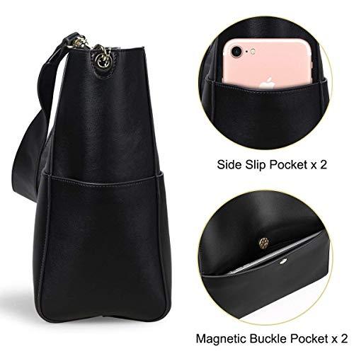 Mujeres Sodial Para Vintage Hombro Las Cuero negro De Bolsa Bolso Monedero Totalizador Cubo q141Anwrx