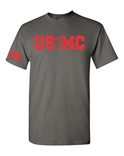 (All Things Apparel USMC Red Print with Flag on Sleeve Men's T-Shirt - Large Charcoal (ATA1703))