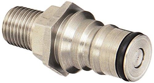 "Eaton Hansen 2KILF15 Stainless Steel Ball Lock Hydraulic Fitting, Plug with Valve, 1/4""-18 NPTF Male, 1/4"" Body"