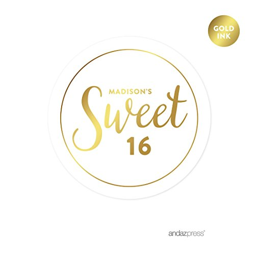 Andaz Press Personalized Round Circle Birthday Favor Gift Labels Stickers, Metallic Gold Ink, Sweet 16 Birthday, 40-Pack, Custom Made -