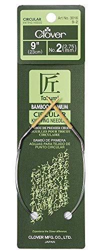 CLOVER Bamboo Circular Knitting Needles Takumi, 9-Inch Size 2 (Sock Knitting Needles Circular)