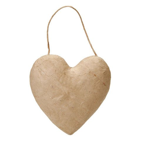 Bulk Buy: Darice DIY Crafts Paper Mache Puffy Heart with String 5-1/2 inches (3-Pack) 2833-44