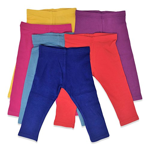 Boys Girls Toddler Little Kids Unisex 6 Pack Cotton Stretch Snug Fitting Long Pant Leggings (Yellow/Blue/Red/Denim/Fushia/Plum, - Skirt Plums Denim