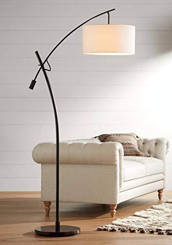(Modern Arc Floor Lamp Bronze Off White Linen Drum Shade Adjustable for Living Room Reading Bedroom Office - Possini Euro Design)