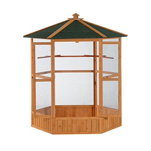 "PawHut 65"" Large Wooden Hexagonal Outdoor Aviary Flight Bird Cage with Covered Roof"
