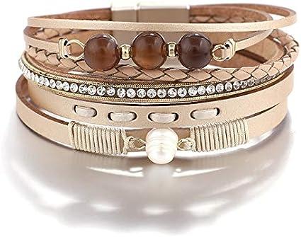 JIANYUXIN Pulsera Pulsera Tejida de Cuero Bohemio para Mujer Pulsera de Cristal de Perlas Naturales Pulsera Multicapa Joyería para Mujer