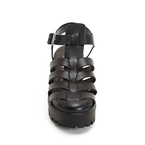 ALESYA by Scarpe&Scarpe - Sandalias altas en jaula con hebilla, de Piel, con Tacones 7 cm Negro