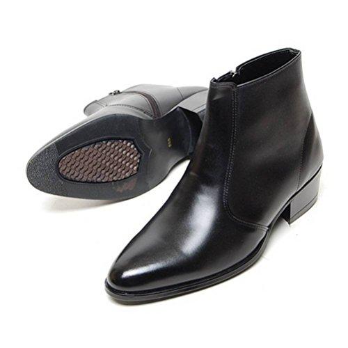 EpicStep Men's Black Genuine Cow Leather Dress Shoes Formal Casual Zipper Ankle Boots 9.5 M US by EpicStep (Image #3)