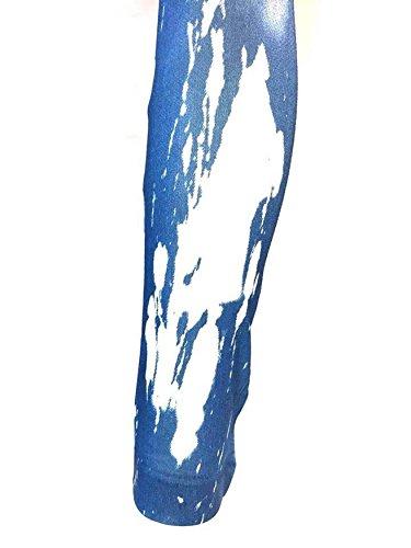 Leggings Femme Jeans en Détresse Bleu Fumée Montée Délavé Coupe Slim Pantalon T: L/XL