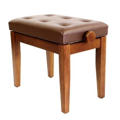 Prima Height Adjustable Luxury Cushioned Piano Stool - Polished Walnut Prima @ 1to1Music FS201PW