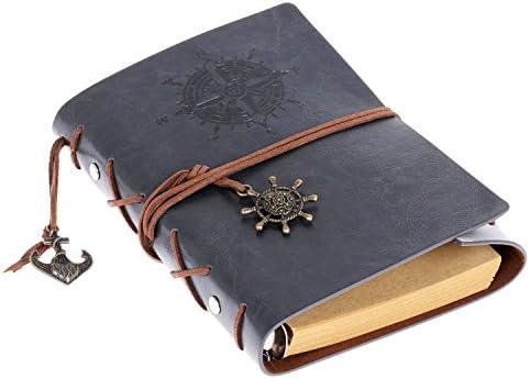 Cosanter Retro Stil Notizbuch mit Exquisiter Anhänger, 80 Seiten Leeres Papier, PU-Leder Abdeckung Reisen Tagebuch (Grau-blau)