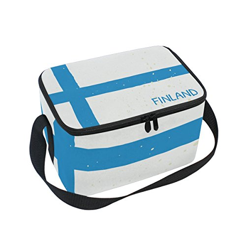 - Distressed Finland Flag Insulated Lunch Box Cooler Bag Reusable Tote Picnic Bags for Travel, Camping, Hiking and RVing