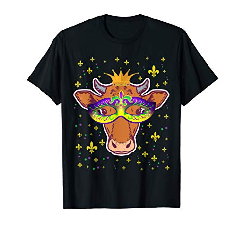 Mardi Gras New Orleans Funny Cow Mask T-Shirt Gift Women