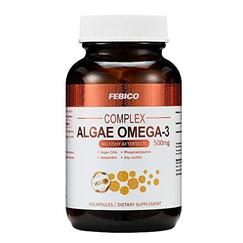 Cheap FEBICO DHA- Algae Oil DHA, Astaxanthin, Phosphatidylserine, and Non-GMO Soy Lecithin Vegetarian DHA Dietary Supplement-60 Capsules,100% Nature Vegan Omega-3-Prenatal Formula-No Fishy Aftertaste