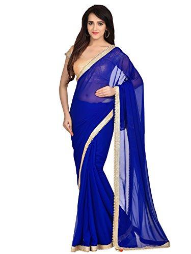 y Wear Georgette Printed Saree Sari (Blue1) ()