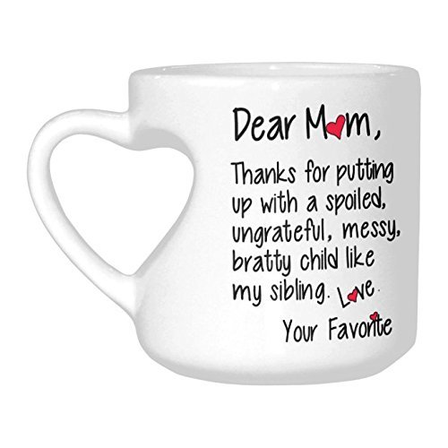 InterestPrint Thanks For Dear Mom Child Love Favorite Inspirational Quotes Ceramic Heart Shaped Travel Water Coffee Mug Tea Cup Funny Unique Birthday Gift
