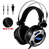 KUAK Stereo Gaming Headset for PC PS4 Xbox One Nintendo,Noise Cancelling Mic, Bass Surround Over Ear Gaming Headphones,Volume Control,Soft Ear Pads