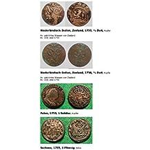 Kalenderblatt zum Jahr 1755: Vier Münzen des Jahres 1755 (½ Duit von Zeeland Niederländisch-Indiens, ein Solidus Polen und ein Pfennig Sachsen des Jahres 1755) (German Edition)