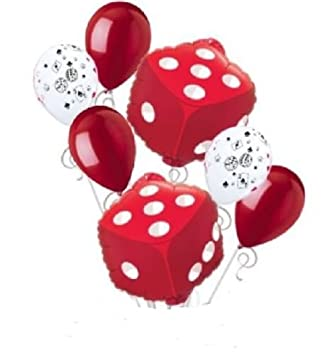 7 Pc Las Vegas Red Dice Balloon Bouquet Party Decoration Birthday