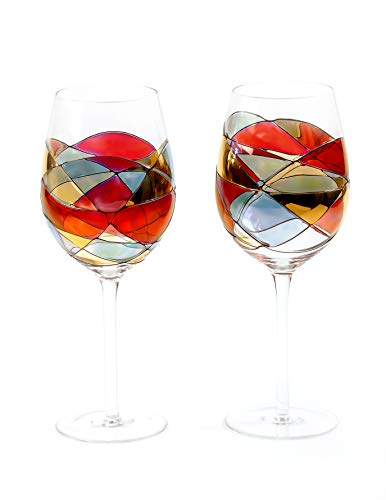 - ANTONI BARCELONA Large Wine Glasses 29Oz Sagrada Red Set 2 Stained Hand Painted & Mouth Blown Red White Wine Special Gifts Birthday Anniversary Weddings Women Men Mother, Father Stunning Colorful