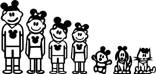 Disney Stick Family Wall or Car Truck Decal Sticker Home Dec