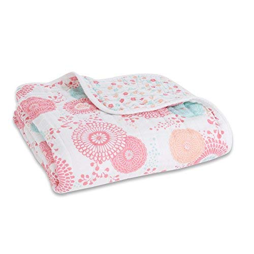 aden + anais Tea Collection Dream Blanket, 100% Cotton Muslin, 4 Layer lightweight and breathable, Large 47 X 47 inch, Global Garden