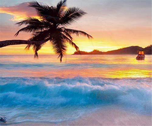 Landscape Quilted Bedspread /& Pillow Shams Set Sea Ocean Palm Trees Print