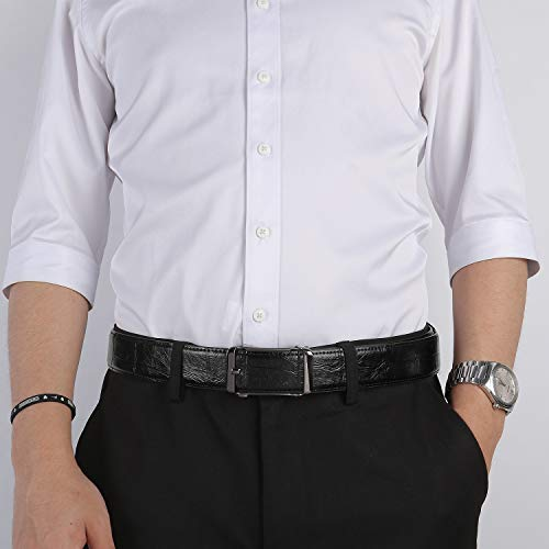 ZHENGYUN Dress Leather Belt for Men Slide Ratchet Work Belts with Automatic Click Buckle Trim to Fit