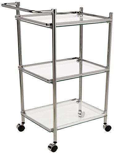 Glass Serving Cart - Organize It All 3 Tier Chrome and Tempered Glass Serving Cart