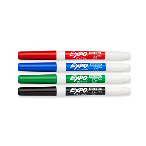 EXPO 86674K  Low-Odor Dry Erase Markers, Fine Point, Assorted Colors, 4-Count by Expo (Image #1)