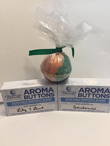 Celestial Dreams Aroma Wax Melts- A Little Bit of Heaven Gift Set -(2) 4oz Boxes 1 of Each Scent, Bath Bomb 4.5oz. Made in The USA w/All Natural Essential Oils (Gardenia n Lily N Lime)