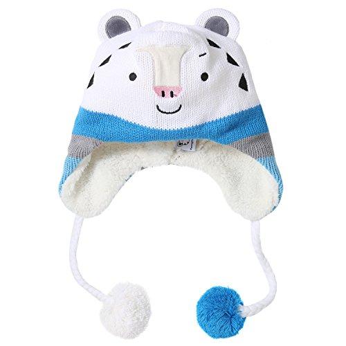Winter Olympic Mascots (PyeongChang 2018 Winter Olympic Official Mascot Soohorang Winter Headwear Kids Hat (Blue))