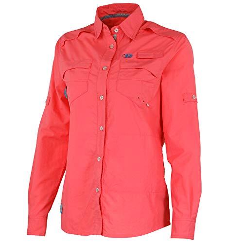 Mossy Oak Women's Women's Long Sleeve Performance Fishing Shirt, Coral, XX-Large