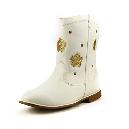 Girl's Western Cowgirl Style Boots with Studded Sparkly Toddler - Youth Size (12, white) ()