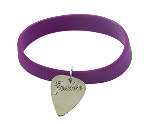 Fender Guitar Logo Classic Purple Rubber Wrist Cuff Charm Kids Small Youth Size (Logo Dc Guitar)