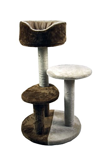 30″ 3-Tier Cat Tree House Condo With Cradle Perches Scratch Post and Bed (Brown)