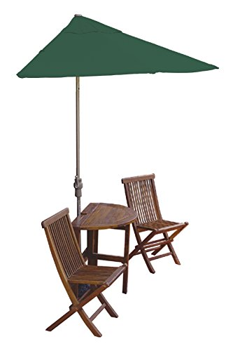 Blue Star Group Terrace Mates Caleo Standard Table Set w/ 9'-Wide OFF-THE-WALL BRELLA - Forest Green SolarVista Canopy 9' Green Solarvista Set