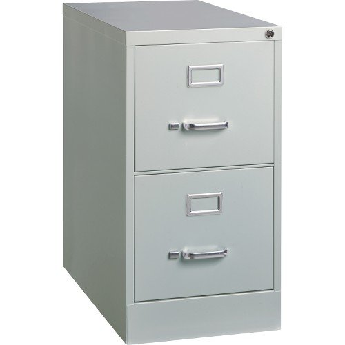 Lorell 2-Drawer Vertical File with Lock, 15 by 25 by 28-3/8-Inch, Light Gray by Lorell