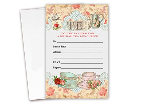 Tea Bridal Shower Luncheon Invitations 20 Count & Envelopes -