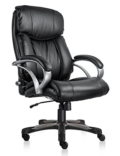 Ultimate Leather Executive Chair - VO Furniture Executive Office Chair Big & Tall Thick Padding 500lb Capacity Size with Lumbar Support Comfortable Padding High-Back Bonded Leather Chair