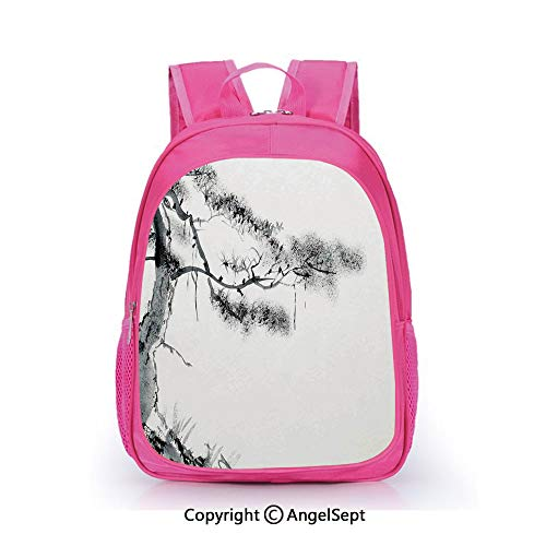 Custom Kid's Backpack Waterproof Cartoon Picture,Lone Pine on Mountain Slope Art in Traditional Chinese Painting Style Oriental Culture Grey White,15.7inch,School Bag For Unisex Kids