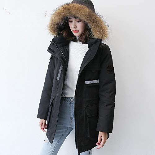 In Guxiu Parka Cappotto Piumino Pelliccia Collo Giacche Sportive Lungo Donna Invernale Black nYqBY8wr4x