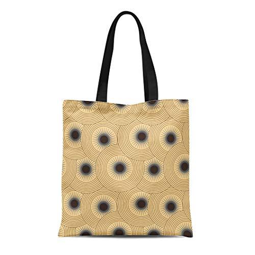 - Semtomn Canvas Tote Bag Shoulder Bags Blue Abstract Graphic Star Circular Glow in Ivory Shades Women's Handle Shoulder Tote Shopper Handbag