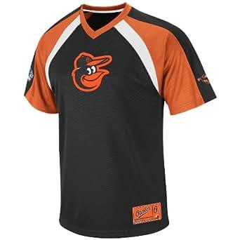MLB Men's Baltimore Orioles Jetstream V-Neck Synthetic Raglan Fashion Top (Black/Dark Orange/White, Medium)