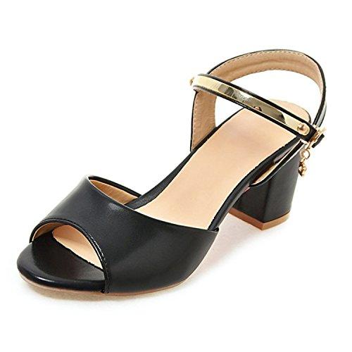 - Summer-lavender Women's Square Heel Ankle Strap Buckle Woman Sandals White Plus Size 33-45,Black,12