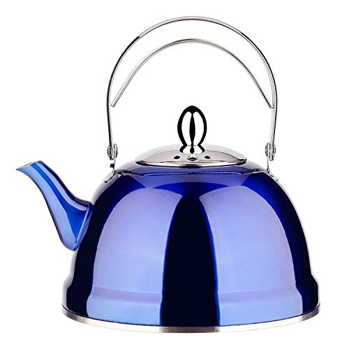 Tea Pot with Infuser Loose Tea for Stove Top 18/10 Stainless Steel Coffee Kettle 8 Cup Quick Boil Sturdy Teapot Hot Water Mirror Finish 1.5 Liter / 1.6 Quart 51 Ounce (Blue) by Onlycooker