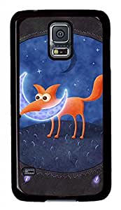 The Fox And The Moon Black Hard Case Cover Skin For Samsung Galaxy S5 I9600
