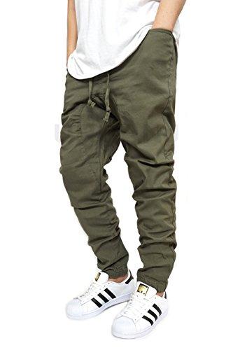 MEN'S TWILL OLIVE DROP CROTCH JOGGER PANTS (M)