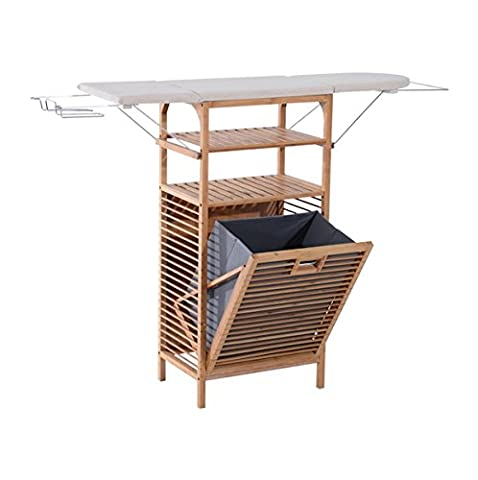 2 in 1 Bamboo Folding Corner Foldable Ironing Board And Laundry Hamper Center Storage Cabinet Organizer Unit With 2 Tier Shelves Clothes Hanger Iron Rest Household Essentials Large Storage - Hide Laundry Holder